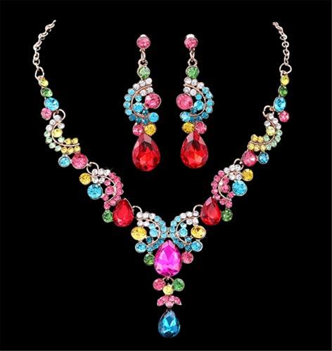 WOFEI Pendientes Y Collar De Diamantes De Imitación Nupcial Accesorios para El Cabello De Vestido De Novia De Alta Gama Accesorios para Fiestas De Cumpleaños,Vistoso