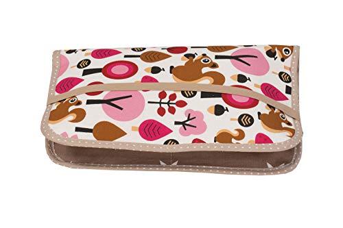 ULLENBOOM ® Windeltasche für unterwegs Sand Eichhörnchen (Made in EU) - Wickeltasche für bis zu 3 Windeln, Feuchttücher & weiteres Zubehör, Windeletui mit Reißverschluss & Gummiband, klein & lässig
