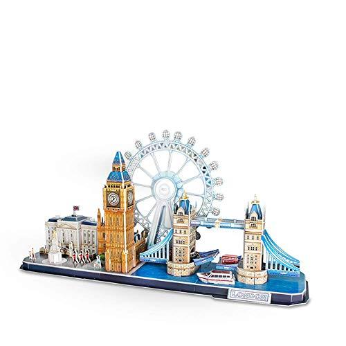 Ybzx London Landmark Building, weltberühmtes Gebäude Puzzle Assembly Modell 3D dreidimensionales Puzzle Kinder Lernspielzeug
