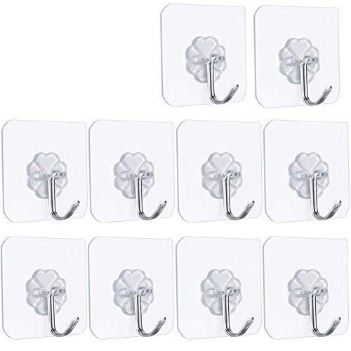 FOTYRIG Self Adhesive Hooks Stick on Hooks Strong Wall Sticky Hangers 10kg (Max) 180 Degree Rotating Reusable Waterproof and Oilproof for Door Kitchen Bathroom Office Closet-10 Packs