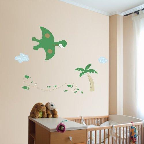 Walplus Muursticker vliegende dinosaurus wanddecoratie papier kunst decoratie voor jongens kinderen