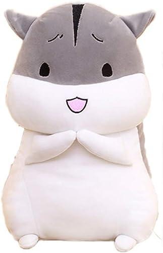GJF Niedliche fette Hamsterpuppen-Puppenpuppe und Weißhes Hamsterplüschspielzeugkissen-Geburtstagsgeschenkgrau (Design   1, Größe   50 cm)