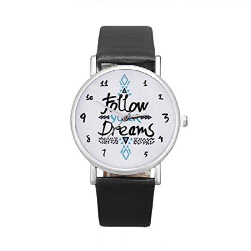 Gaetooely Mujeres Follow Your Dreams Patron PU Relojes de Pulsera (Negro)