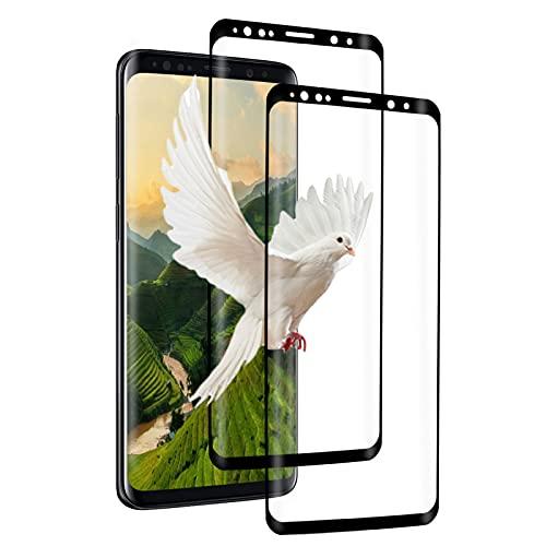 [3 Unidades] Protector de Pantalla de Cristal Templado para Samsung Galaxy S9 Plus, Ultrafino, 0,33 MM, Cobertura Completa 3D, Sin Burbujas, Dureza 9H, Membrana para Samsung Galaxy S9 Plus (Negro)