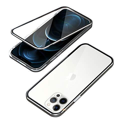 OVANN Custodia per iPhone 12 PRO Max 6.7-Pollici Anti Separato con Adsorbimento Magnetico 360 Protezione CNC Dritto Alluminio Bordo Vetro Temperato Cover Antiurto Metallo Magnete Case