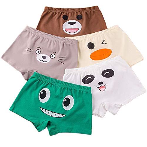 5 Pack Kinder Jungen Unterwäsche Unterhose Unifarbe Boxershorts Cartoon Print Boxer Slips Schlüpfer