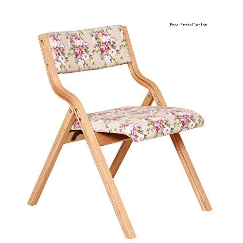 KFXL yizi Chaise en bois massif Chaise d'ordinateur de loisirs de loisir Fauteuil arrière Chaise pliante 6 couleurs disponibles Taille en option (Couleur : E, taille : 1#)