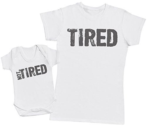 Zarlivia Clothing Tired & Not Tired - Ensemble Mère Bébé Cadeau - Femme T Shirt & bébé Bodys - Blanc - S & 0-3 Mois
