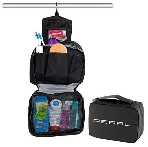 PEARL Kulturbeutel aufklappbar: Kulturtasche zum Aufhängen, aufklappbar, 6 Fächer, Unisex, schwarz (Waschtasche)