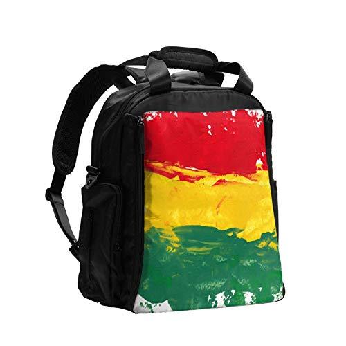 Colorido Marley Reggae Colores Verde Bob Rasta Jamaica Bandera Jamaica Gran Capacidad Multifunción Bolsa de Pañales Mamá Papá Bolsa de Cuidado de Bebé Bolsa Bolsa de Pañales Bolsa de Enfermería