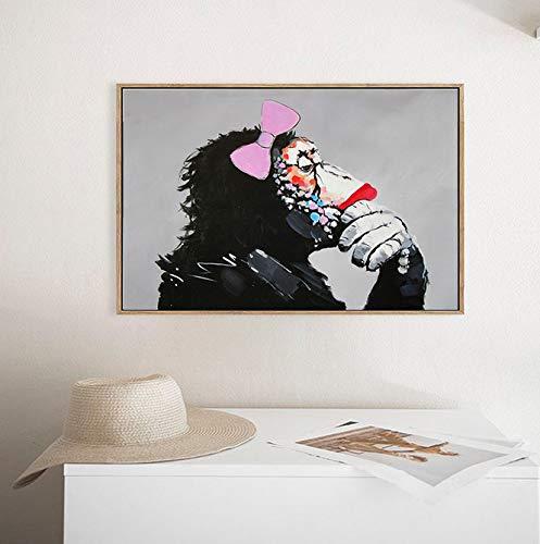 Tamaño (Pulgadas): Sin Marco 70X100Cm Arte De La Pared Lienzo Pintura Animales Cartel Moderno Un Bulldog Beber Con Gafas De Sol Decoración Del Hogar Imágenes Para La Sala De Estar E2
