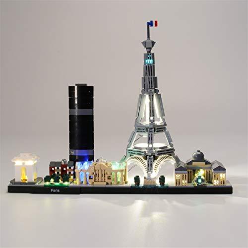 Conjunto De Luces (Architecture Paris) Modelo De ConstruccióN De Bloques, Compatible Con El Modelo De Bloques De ConstruccióN Lego 21044 (No Incluido En El Modelo)