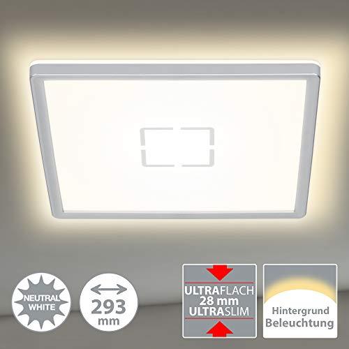 Briloner Leuchten LED Deckenleuchte, Deckenlampe mit Hintergrundbeleuchtungseffekt, 18 W, 2.400 Lumen, 4.000 Kelvin, Quadratisch, Weiß-Silber