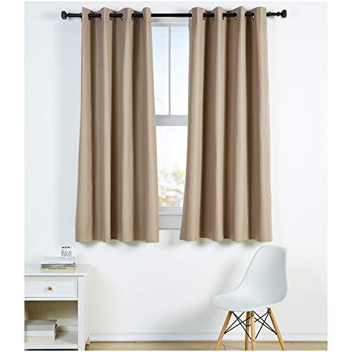 Amazon Basics - Juego de cortinas que no dejan pasar la luz, con ojales, 140 x 175 cm, Chocolate