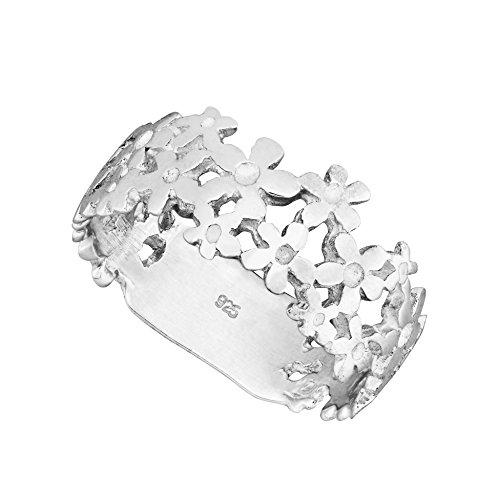 925 Solid Sterling Silver Daisy Chain Flower Band Ring In Sizes G -Z (W)