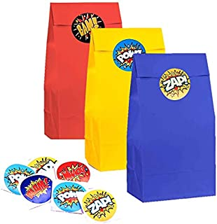 kedudes Party Supplies Goodie Bags with Superhero Stickers, Cartoon Birthday Favor Bags for Theme Party Decorations Boys & Girls Birthday Party Treat Bags (Superhero #1)