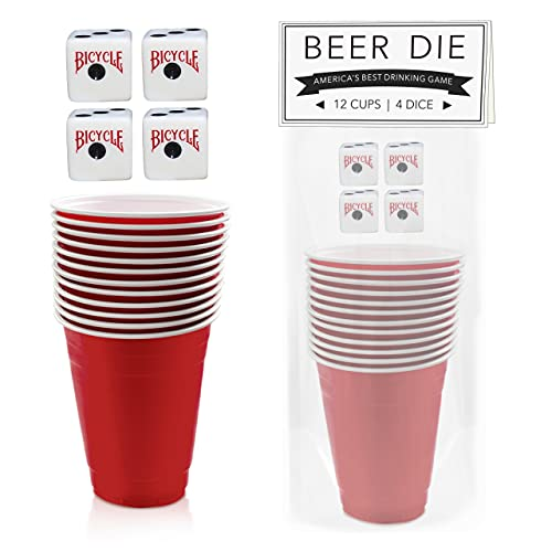 BayView Beer Die & Snappa Complete Set   12 Red Cups & 4 Bicycle Dice Kit   America's Favorite Drinking Game   Great For Parties, Celebrations & Elite Summertime Fun