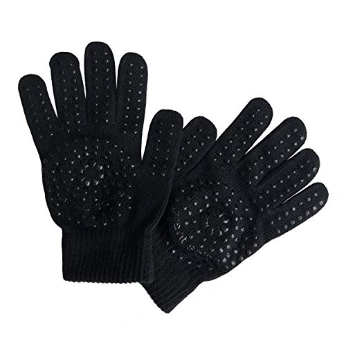 Great Soles - Reese Cotton Grip Workout Gloves for Yoga Pilates Workout Gym - Black/Black