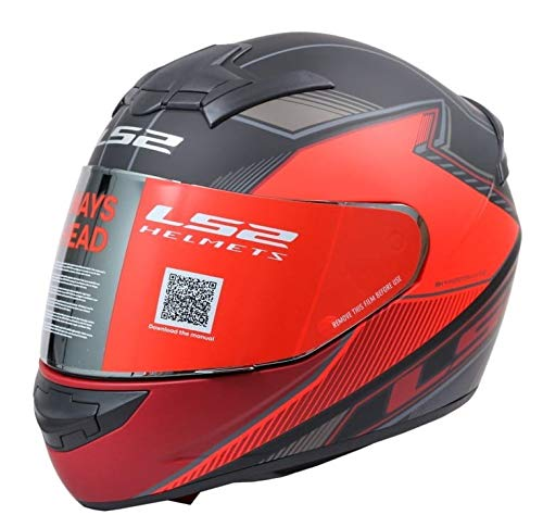 The Riders Den - LS2 Helmets - FF352 Rookie - Kascal - Matt Black Red - Single Mercury Visor Full Face Helmet - (X-Large - 590 MM)