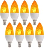 LED Fire Flicker Flame Candelabra Light Bulb, 2W 1800K Warm White E12 Base, Flickering Effect 3 Modes Simulated Emulation/General/Breathing, for Home Bar Party Indoor Outdoor Decorations, 8 Pack