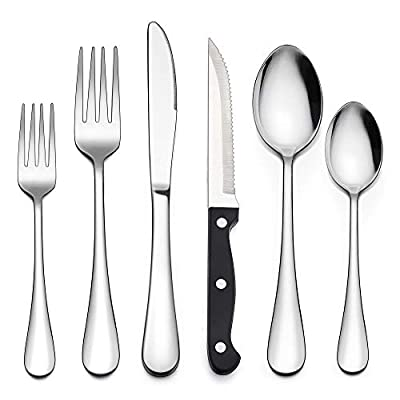 LIANYU 72-Piece Silverware Set with Steak Knives, Stainless Steel Cutlery Flatware Set for 12, Modern Eating Utensil Tableware for Kitchen Restaurant Hotel, Dishwasher Safe