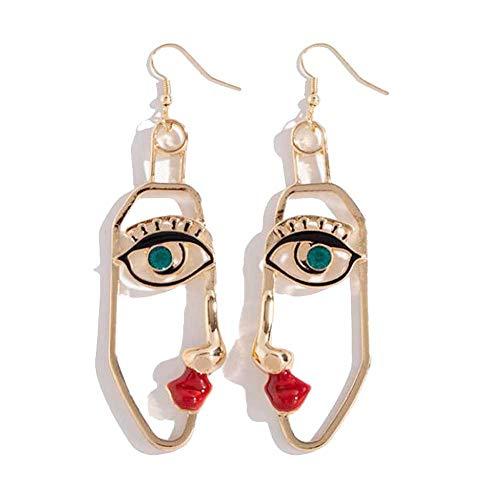 Big Abstract Face Dangle Earrings for Women Earrings Gold Tone Hypoallergenic Earrings Statement Fashion Face Jewelry (1#)