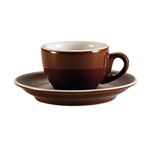 CAC China CFB-35 Venice Espresso-Tasse mit Untertasse, 100 ml, braun/amerikanisches Weiß, Porzellan, rund, 6 x 4,5 cm, 36 Stück