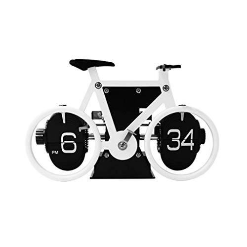 MKKM Neuheit Home Wanduhr, Creative Clock Bike Flip Clock Automatische Seitenuhr Retro Boot Flap Flop Piraten Anker Form Seitenuhr Multicolor,Weiß