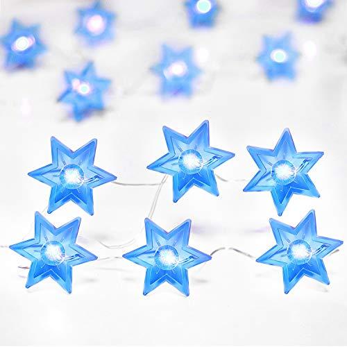 Rocinha Chanukkah Star of David Lights String, 10 ft 30 LEDs Judaical Style Hanukkah Lights Decorations for Passover, Hashanah, Shabbat, Rosh Chodesh (Blue)