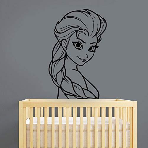 Princesse Reine des Neiges Stickers Muraux de Bande Dessinée Vinyle Décoration de La Maison Fille Chambre Chambre Nursery Décoration Applique Amovible Mural