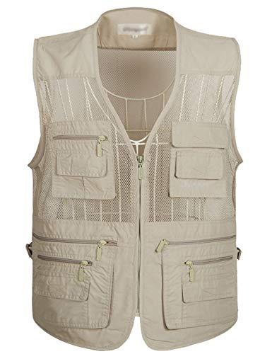 Flygo Men's Summer Mesh Fishing Vest Photography Work Multi-Pockets Outdoors Journalist's Vest Sleeveless Jacket (Large, Beige)