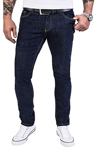 Rock Creek Herren Jeans Hose Regular Slim Stretch Jeans Herrenjeans Herrenhose Denim Stonewashed Basic Stretchhose Raw RC-2138 Dunkelblau W38 L34