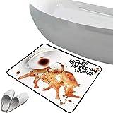 Alfombra de baño antideslizante de felpudo Arte del café Alfombrilla goma antideslizante Animal de rinoceronte salvaje de la bebida caliente derramada Mancha Latte Cappuccino Decorativo,Siena quemada