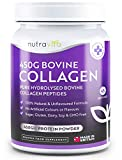 Collagen Peptides Protein Powder - 450g of Superior Grass-Fed Bovine Protein Powder - 100% Natural Collagen Supplement with No Artificial Colours or Flavours - Made in The UK by Nutravita