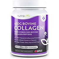 Colágeno Bovino puro Hidrolizado en Polvo 100% Natural - 450g de Proteína de Máxima Calidad (45 Dosis) Sin Colorantes y Aromatizantes Artificiales - Producto Elaborado en el Reino Unido por Nutravita