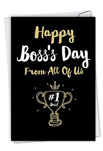 NobleWorks - Boss's Day Greeting Card with Envelope - Boss Appreciation, Gratitude Notecard for Manager, Work - Happy Boss's Day From All C5886BOG-US