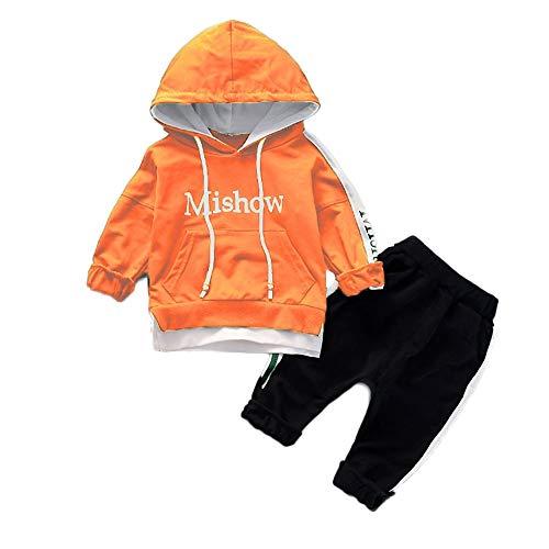 Hawkimin_Babybekleidung Hawkimin Baby Junge Mädchen Brief Print Kapuzenpullover Sweatshirt Tops + Einfarbig Hosen Kleidung Set Outfits