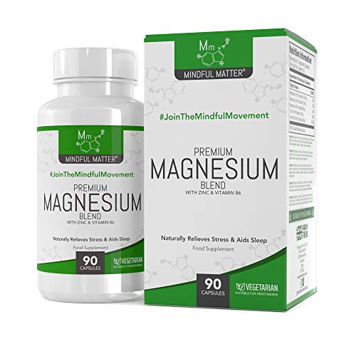 Magnesium Malate Supplement Blend HIGH Strength 330mg by Mindful Matter | GLYCINATE TAURATE + Vitamin B6 & Zinc | 90 Vegan Capsules (1 Month Supply) | for Natural Calm, Sleep Support & Leg Cramps