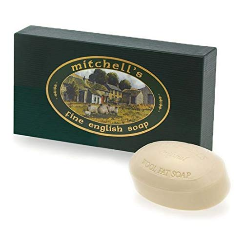Mitchell's Wool Fat Lanolin Soap Bar Gift Set with Three Oval Soap Bars in Green Gift Box