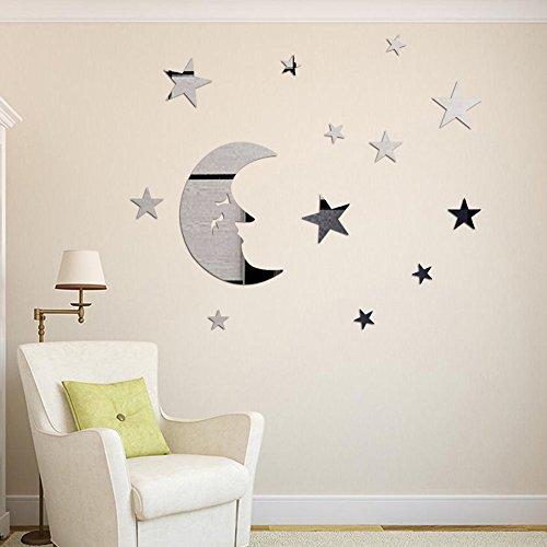 DIY 3D Étoile Lune Stickers Muraux Cristal Acrylique Décorations murales chambre de bébé Autocollants Décoratifs Accueil Décorations Arts (Argent)