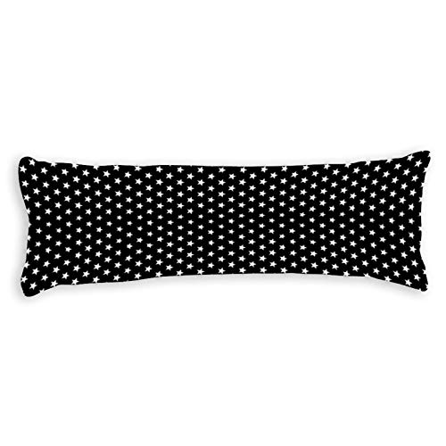 Promini White Stars Body Pillow Cover Pillowcases Cushion with Hidden Zipper Closure for Sofa Bench Bed Home Decor 20'x54'