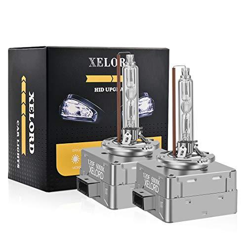 XELORD D1S Xenon Lampadine Per Auto Fari,6000K Luce Bianco Brillante, 35W 12V HID Allo Xeno Lampada(2 Lampadina)
