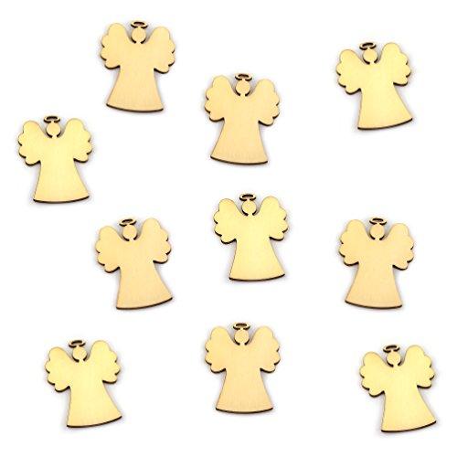 Oblique-Unique - 10 ciondoli a forma di angelo o albero di Natale, in legno naturale, con corda, decorazione natalizia (set da 10 pezzi)