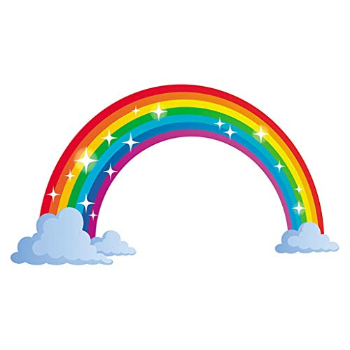 Pegatinas de pared para bebé niñas niños habitación dormitorio guardería sala de estar cocina Decoración de dibujos animados hermoso arco iris decoración de pared calcomanías murales citas baohooya