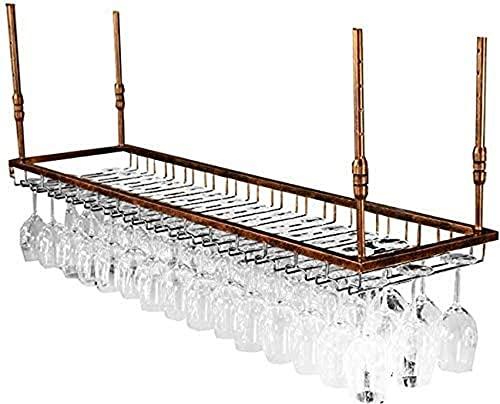 SACKDERTY Stemware Racks Bar Balcão Suporte de vidro de vinho de suspensão Altura ajustável Prateleira de Parede Dupla camada Design Metal Rack Comprimento 60/90 / 120cm Rack de vidro de Vin