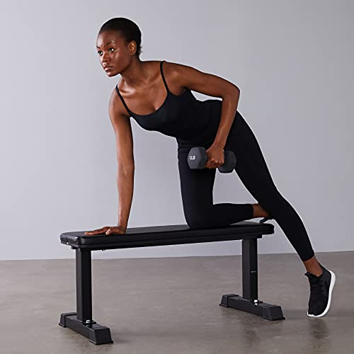 Amazon Basics Flat Weight Workout Exercise Bench-41.3x19x17.7 Inches(Seat),Black
