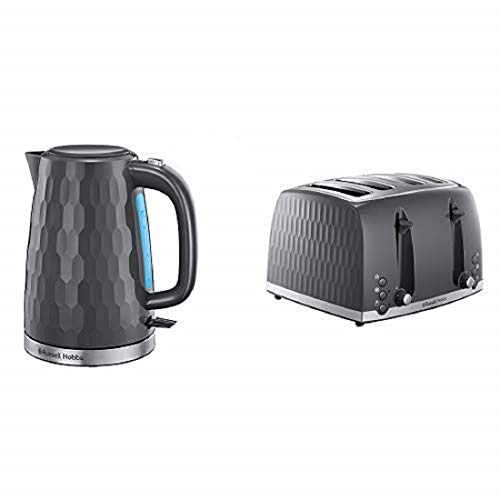 Russell Hobbs Honeycomb Kettle and 4 Slice Toaster, Grey