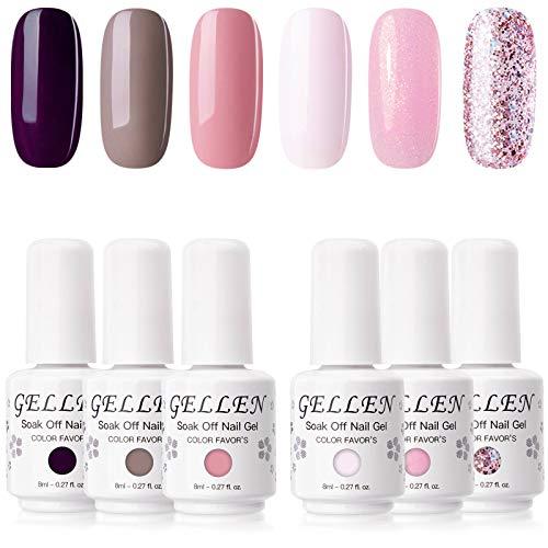 Gellen Gel Nail Polish Set, Dark and Pinks 6 Colors - Popular Solid Shimmer Glitters Nail Gel Shade,...
