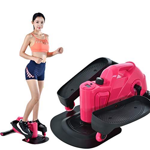 GULU Home Mini Jogging Ellisse Passo-Passo, Display A LED Magneticamente Muto Perdere Peso Attrezzature per Il Fitness Adatto per Uomo Donne Bambini,Rosa