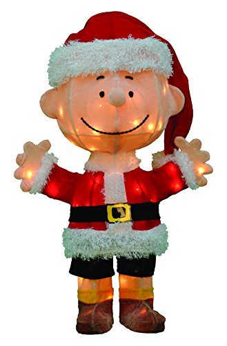 ProductWorks 24-Inch Pre-Lit 3D Peanuts Santa Charlie Brown Christmas Yard Decoration, 50 Lights